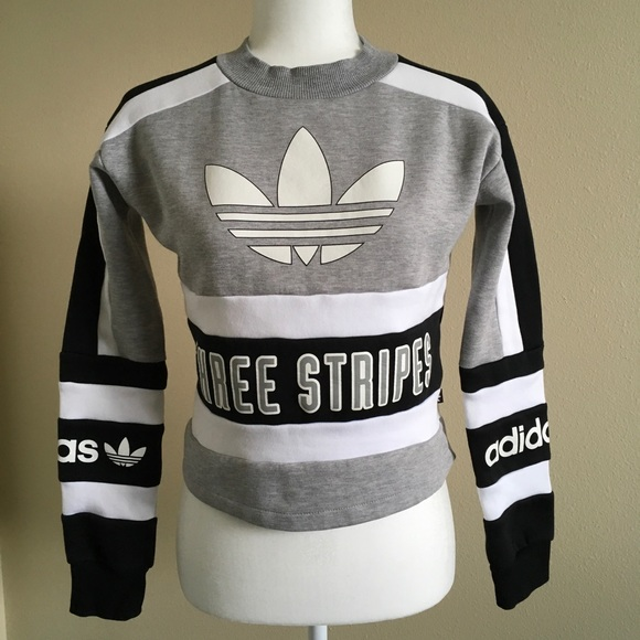 adidas Originals 80s Moto Cropped Pullover Sweatshirt Urban Outfitters